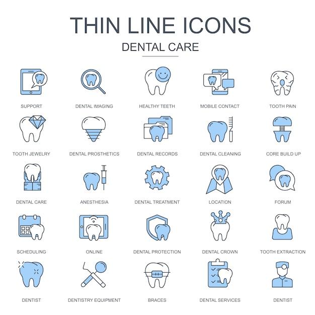 Dunne lijn tandheelkundige zorg, tandheelkundige apparatuur pictogrammen instellen Premium Vector