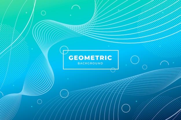 Duotoon gradient achtergrond met geometrische vormen Gratis Vector