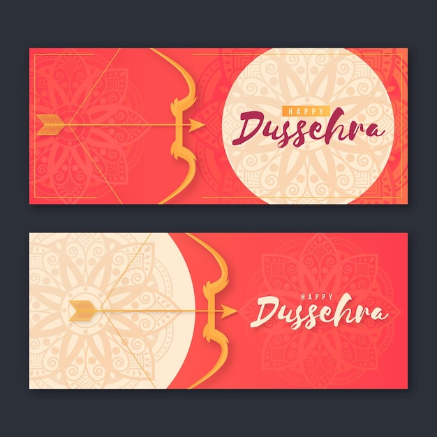 Dussehra banner collectie met pijlen Gratis Vector