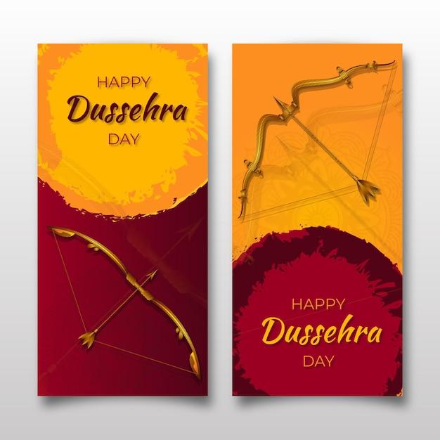 Dussehra banner set met pijlen Gratis Vector