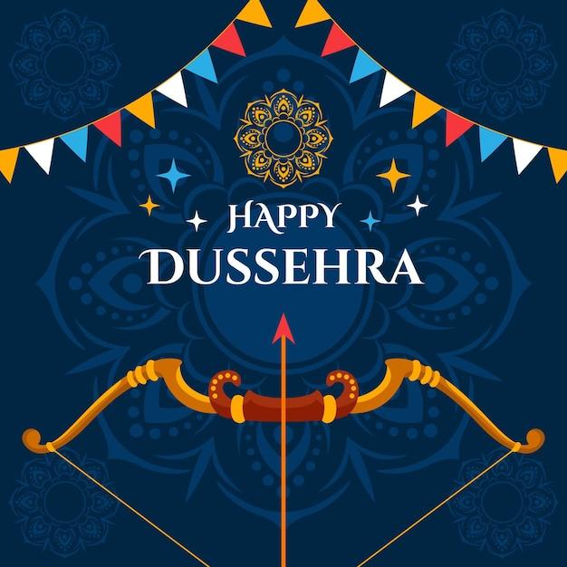 Dussehra-concept in plat ontwerp Premium Vector
