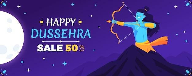 Dussehra festival banner concept Gratis Vector