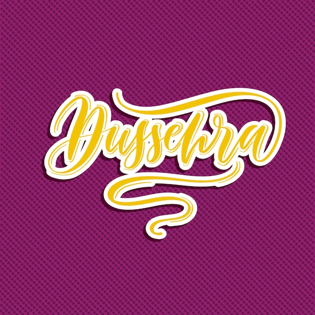 Dussehra - hand belettering kaart Premium Vector