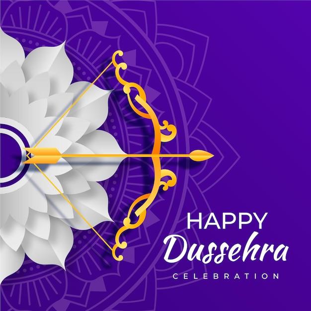 Dussehra in papieren stijl Premium Vector