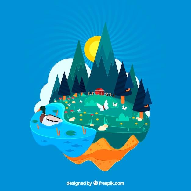 Duurzame ontwikkeling en ecosysteemconcept Gratis Vector
