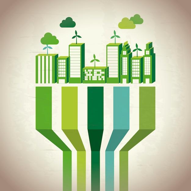 Duurzame ontwikkeling van de industrie Premium Vector