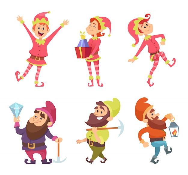 Dwergen en elfjes. grappige sprookjesfiguren in dynamische poses Premium Vector