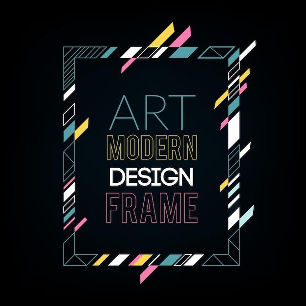 Dynamisch frame met stijlvolle kleurrijke abstracte geometrische vormen eromheen Premium Vector