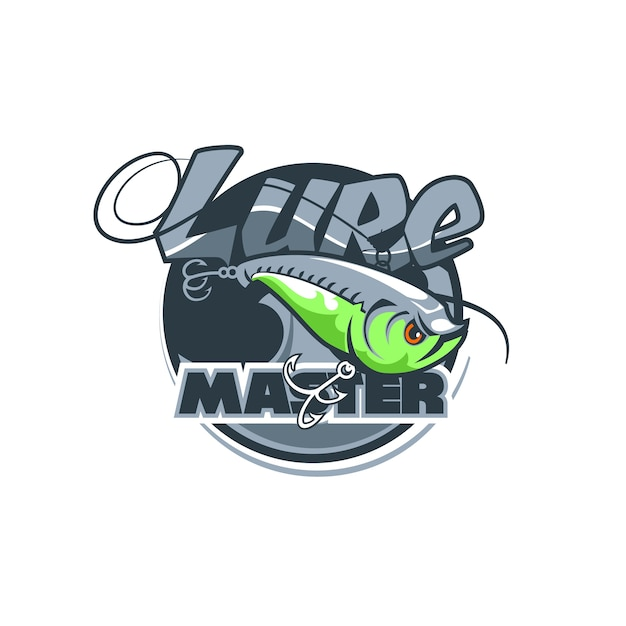 Dynamisch logo van de vissersclub met de naam lure master. Premium Vector