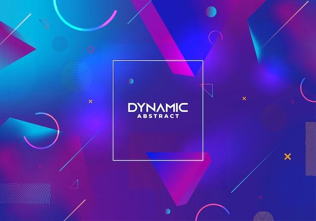 Dynamische abstracte achtergrond met blauwe gradiëntkleuren Premium Vector