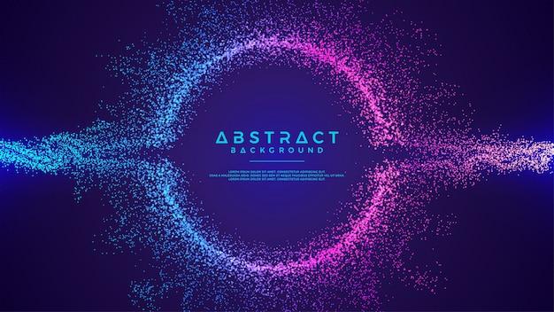 Dynamische abstracte vloeibare stroom deeltjes achtergrond. Premium Vector