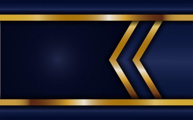 Dynamische abtract donkerblauwe achtergrond met gouden lijn. achtergrond abstract modern Premium Vector