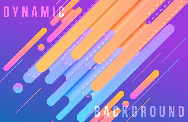 Dynamische achtergrond met abstracte vormensamenstelling en levendige kleur Premium Vector