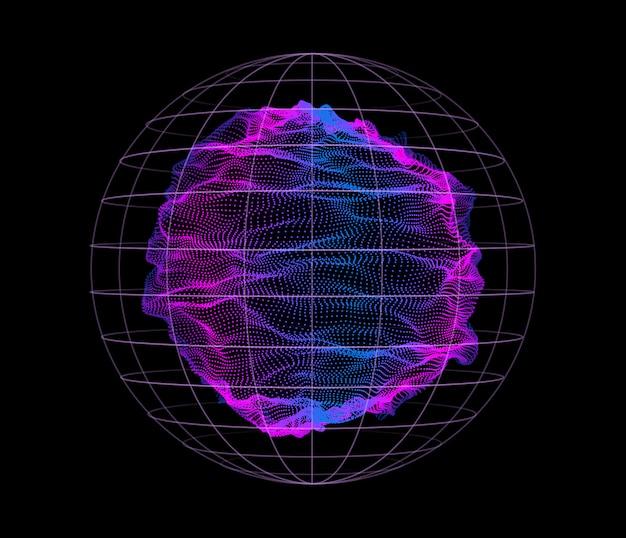 Dynamische deeltjes golven van knooppunten Premium Vector