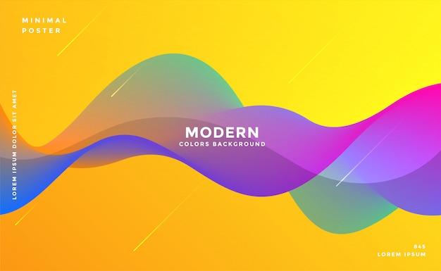 Dynamische kleurrijke levendige golf kleurrijke achtergrond Gratis Vector