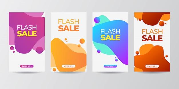 Dynamische moderne vloeiende mobiel voor flash banner set Premium Vector