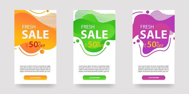 Dynamische moderne vloeiende mobiel voor verkoopbanners. sale-sjabloonontwerp, flash-aanbieding speciale aanbieding, social media-post en meer. Premium Vector