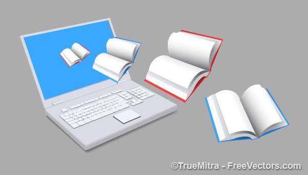 E-books laptop copywritting pictogram vector Gratis Vector
