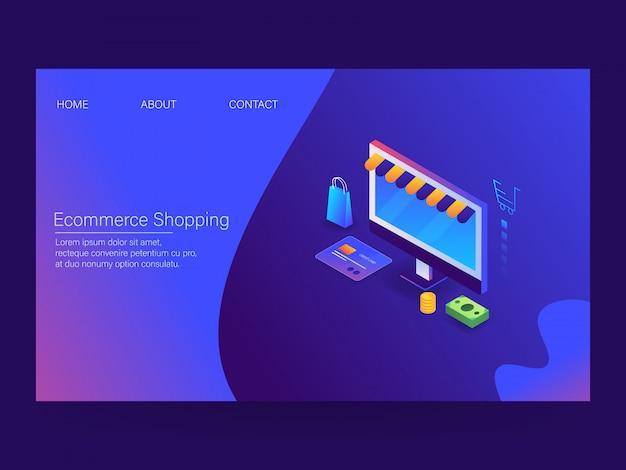 E-commerce bestemmingspagina voor winkelen Premium Vector