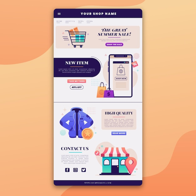 E-commerce e-mailsjabloon met illustraties Gratis Vector