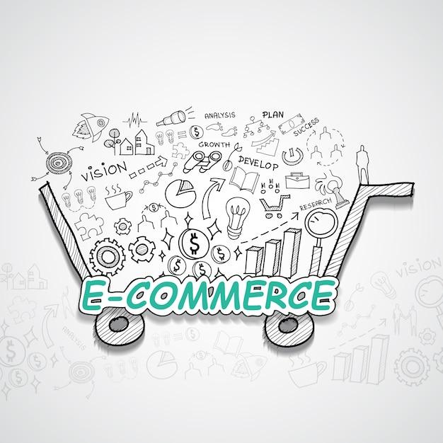 E-commerce illustratie Gratis Vector