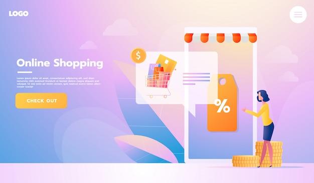 E-commerce koper. internet-items. landingspagina. jonge vrouw online winkelen Premium Vector