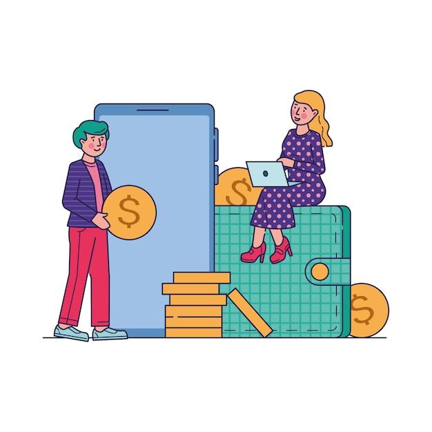 E-commerce markt online winkelen vectorillustratie Gratis Vector