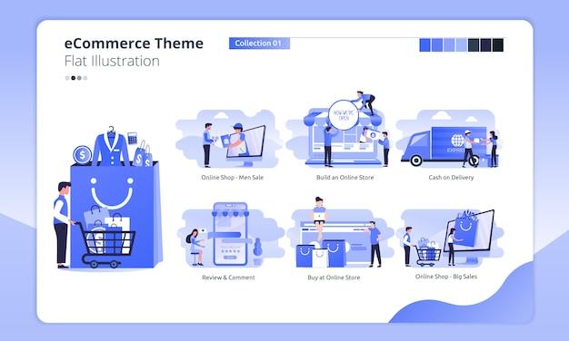E-commerce of online winkelen thema in een vlakke afbeelding Premium Vector
