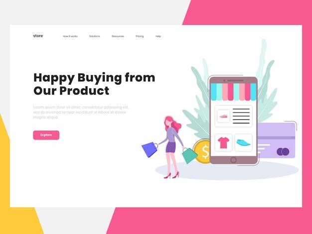 E-commerce online shop bestemmingspagina Premium Vector