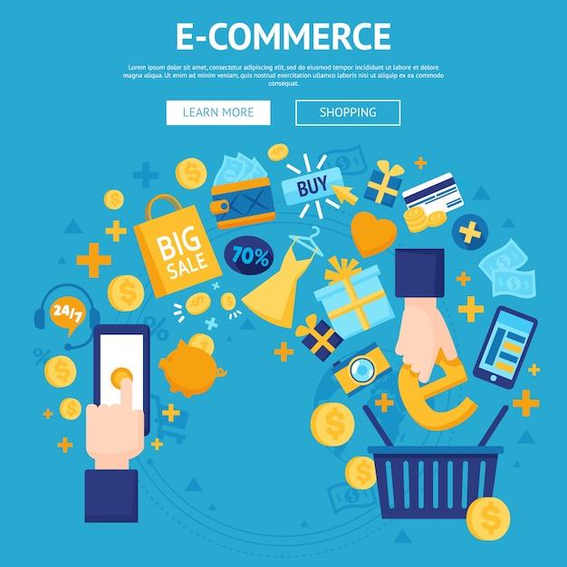 E-commerce online shop webpagina-ontwerp Gratis Vector