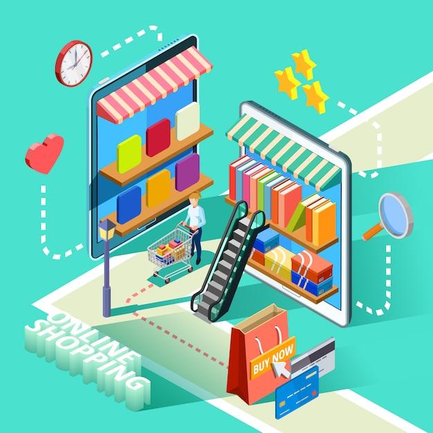 E-commerce online winkelen isometrisch ontwerp poster Gratis Vector