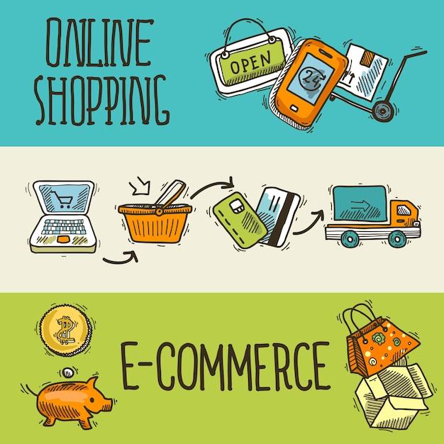 E-commerce ontwerp schets banner Premium Vector