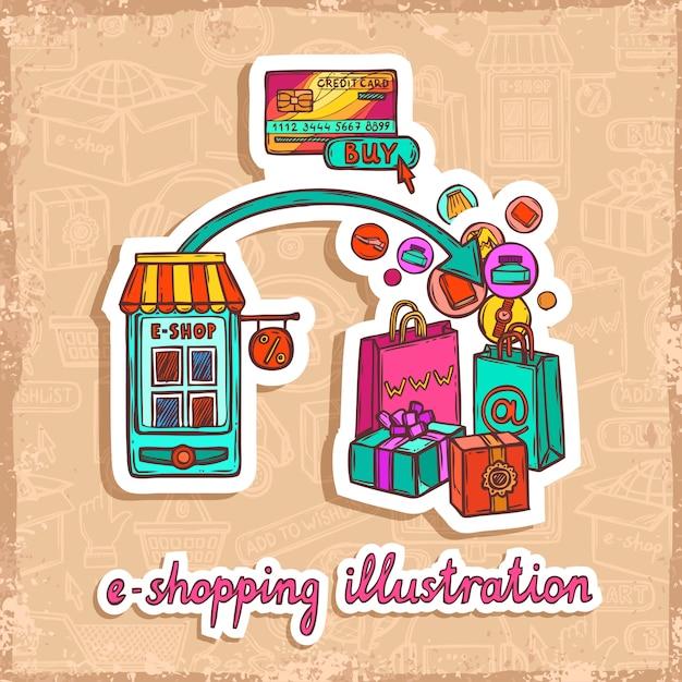E-commerce ontwerpconcept Gratis Vector