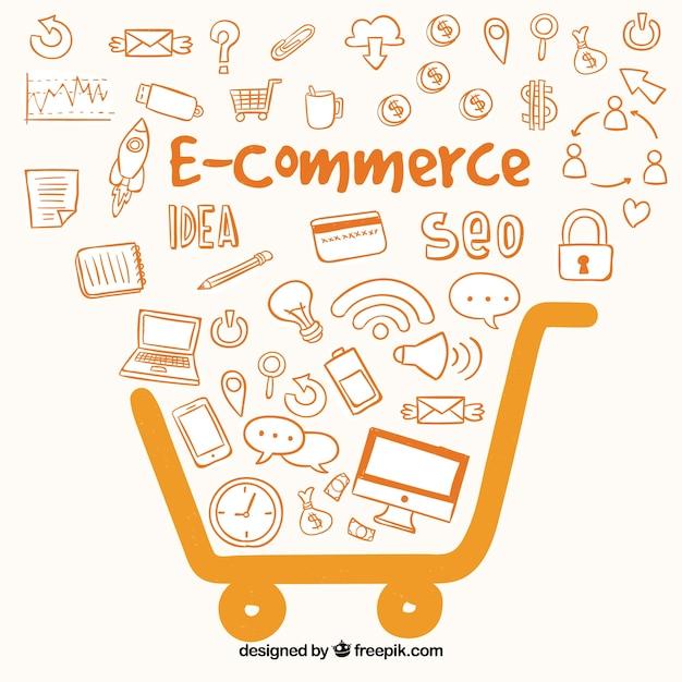 E-commerce oranje achtergrond Gratis Vector