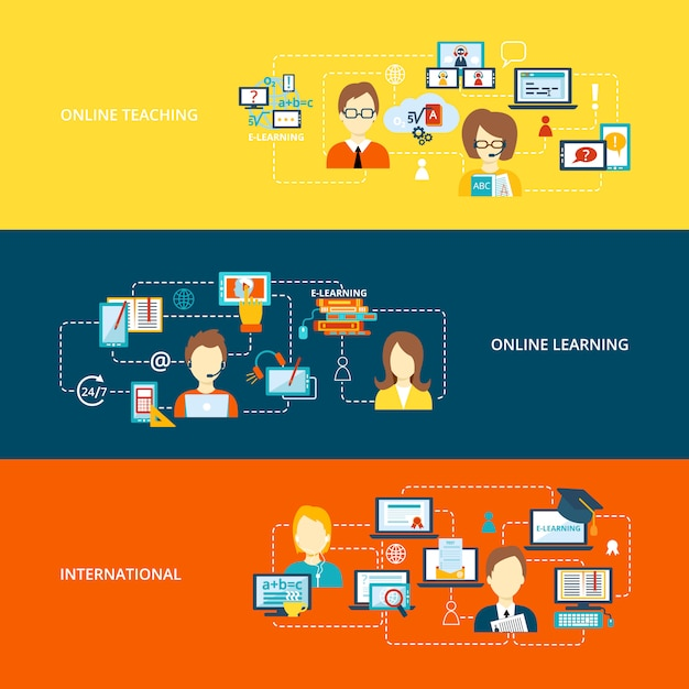 E-learning banner met elementen samenstelling op vlakke stijl Gratis Vector