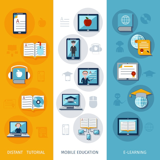 E-learning banners verticaal Premium Vector