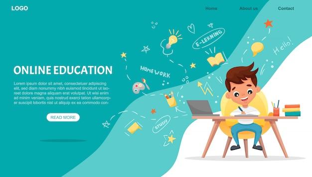E-learning concept banner. online onderwijs. leuke schooljongen die laptop met behulp van. studeer thuis met handgetekende elementen. webcursussen of tutorials, software om te leren. platte cartoon illustratie Premium Vector