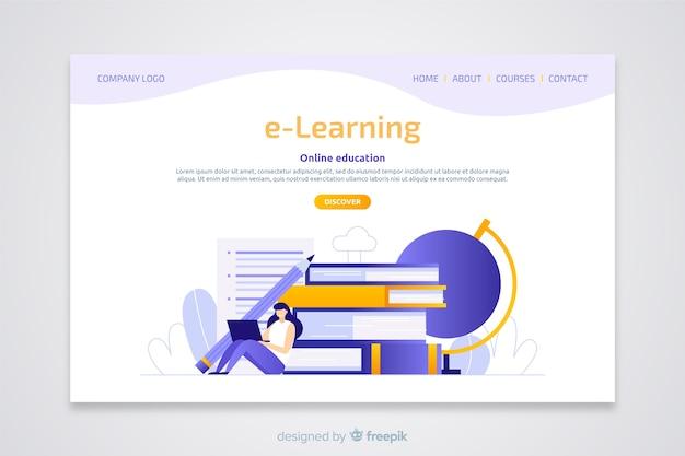 E-learning concept vlakke bestemmingspagina Gratis Vector