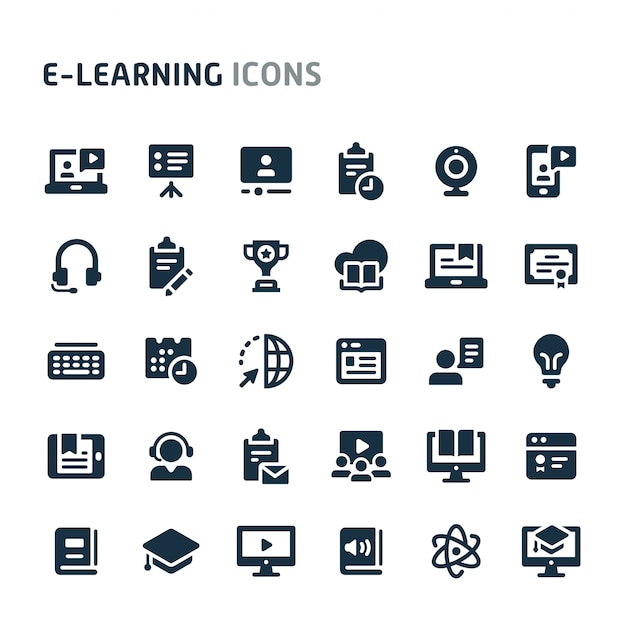 E-learning icon set. fillio black icon-serie. Premium Vector