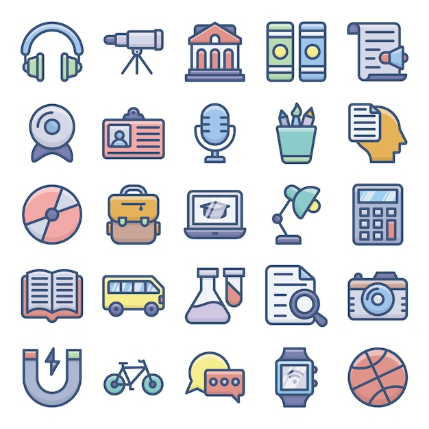 E-learning icons set Premium Vector