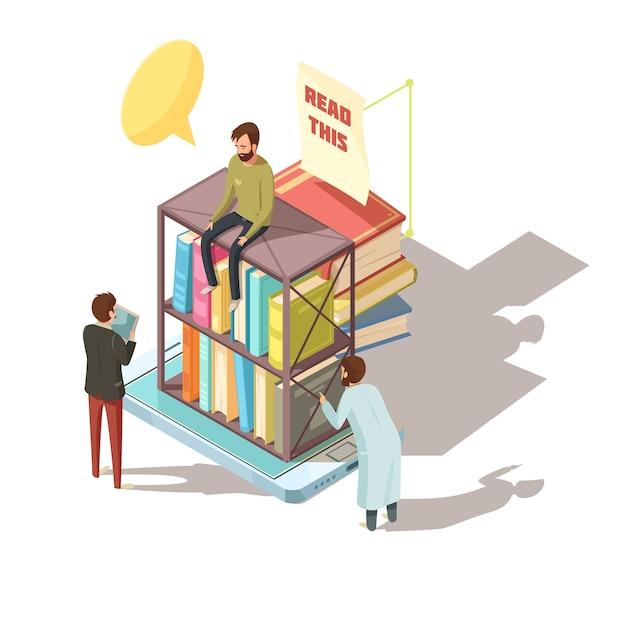E-learning isometrische compositie met studenten in de buurt van planken met boeken op het scherm van het mobiele apparaat Gratis Vector