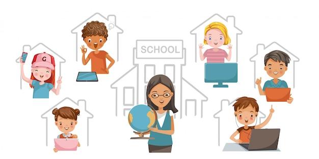 E-learning kind concept. studeer thuis of studeer online. kinderen vinden het leuk om thuis te leren. technologie voor onderwijs. Premium Vector