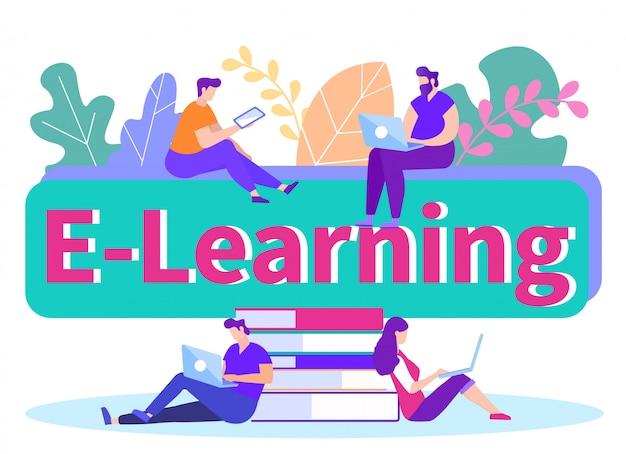 E-learning. mensen met gadget in de hand. . Premium Vector