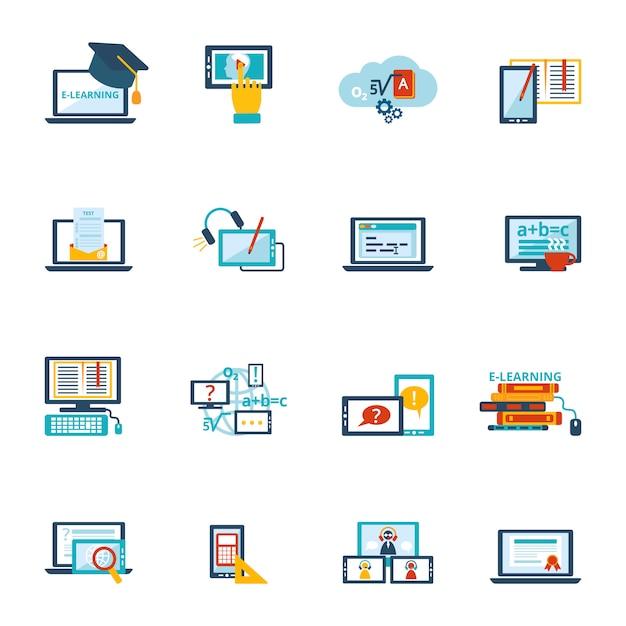 E-learning pictogram plat Gratis Vector