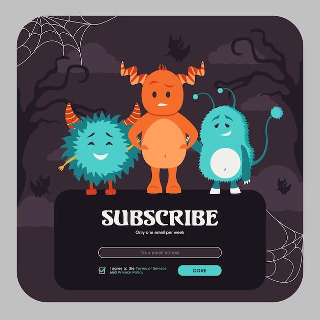E-mail abonneren ontwerp met kleurrijke grappige monsters. online nieuwsbriefsjabloon met harige wezens met hoorns. viering en halloween-concept. ontwerp ter illustratie van de website Gratis Vector