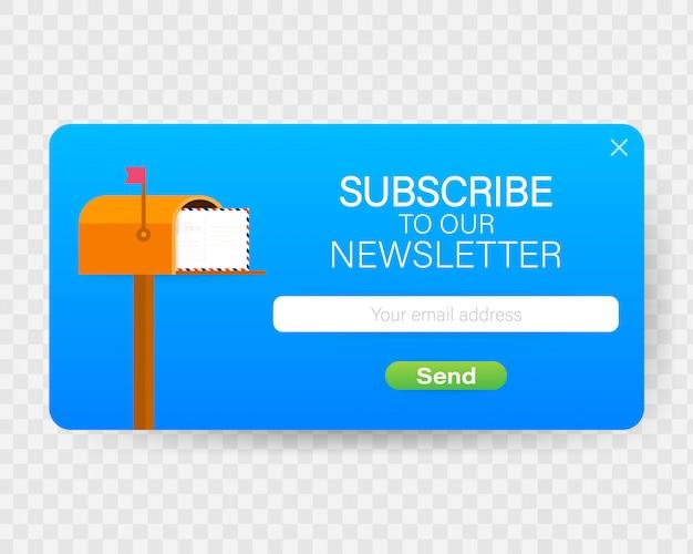 E-mail inschrijven, online nieuwsbrief vector sjabloon met mailbox en verzendknop. Premium Vector