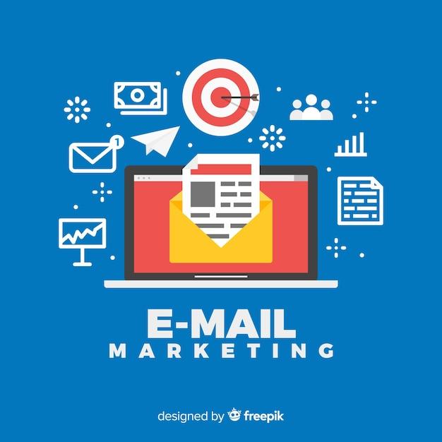 E-mail marketing achtergrond Gratis Vector