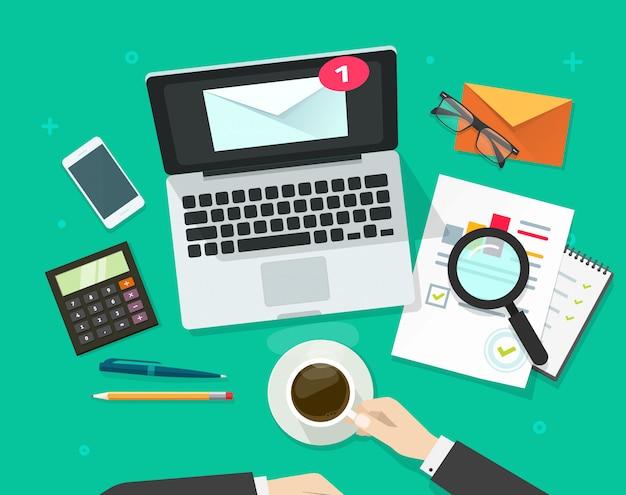 E-mail marketing analyse vector illustratie platte cartoon ontwerp bovenaanzicht Premium Vector