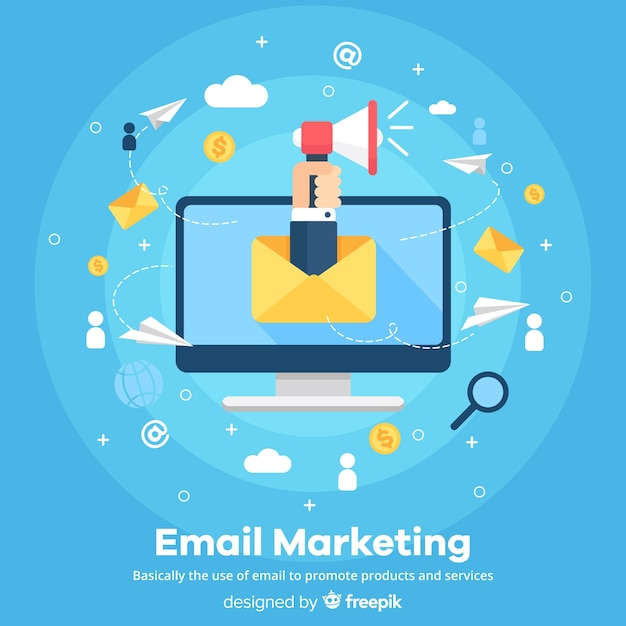 E-mail marketing vlakke achtergrond Gratis Vector