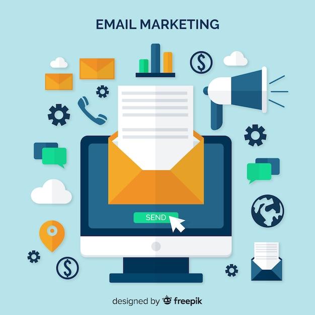 E-mail marketing vlakke achtergrond Gratis Vector
